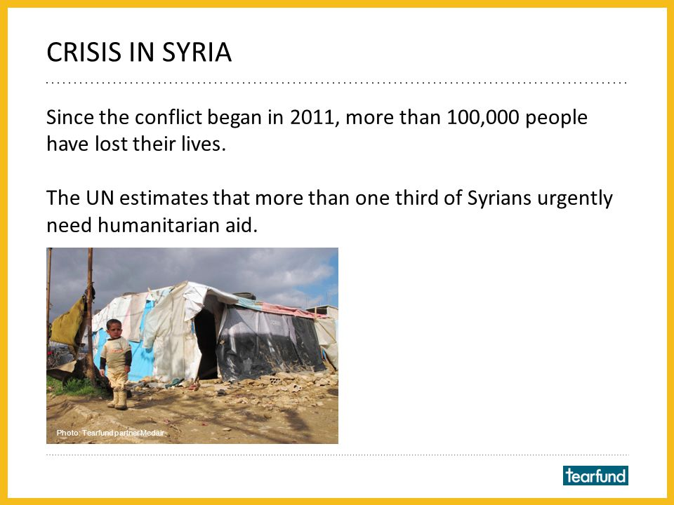 Since the conflict began in 2011, more than 100,000 people have lost their lives.