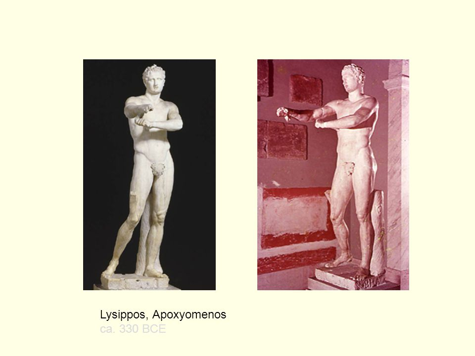 This beautiful figure, Hermes tying his Sandals, has been attributed to Lysippos but the attribution has been challenged.