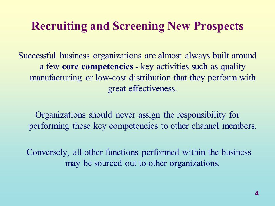 5 Recruiting and Screening New Prospects Recruiting involves those plans and actions aimed at actively soliciting participation by a new channel member.
