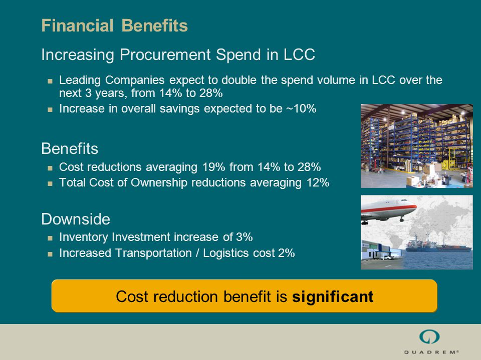 Financial Benefits Increasing Procurement Spend in LCC Leading Companies expect to double the spend volume in LCC over the next 3 years, from 14% to 28% Increase in overall savings expected to be ~10% Benefits Cost reductions averaging 19% from 14% to 28% Total Cost of Ownership reductions averaging 12% Downside Inventory Investment increase of 3% Increased Transportation / Logistics cost 2% Cost reduction benefit is significant