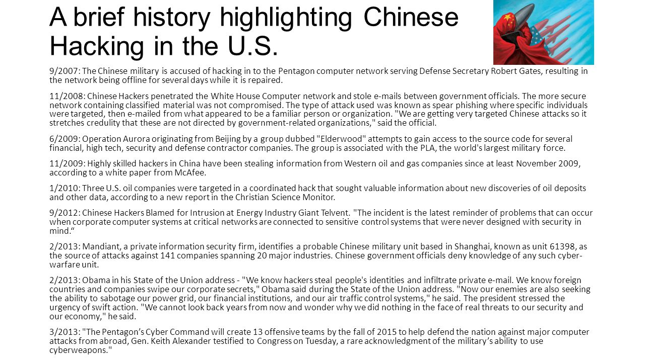 A brief history highlighting Chinese Hacking in the U.S.