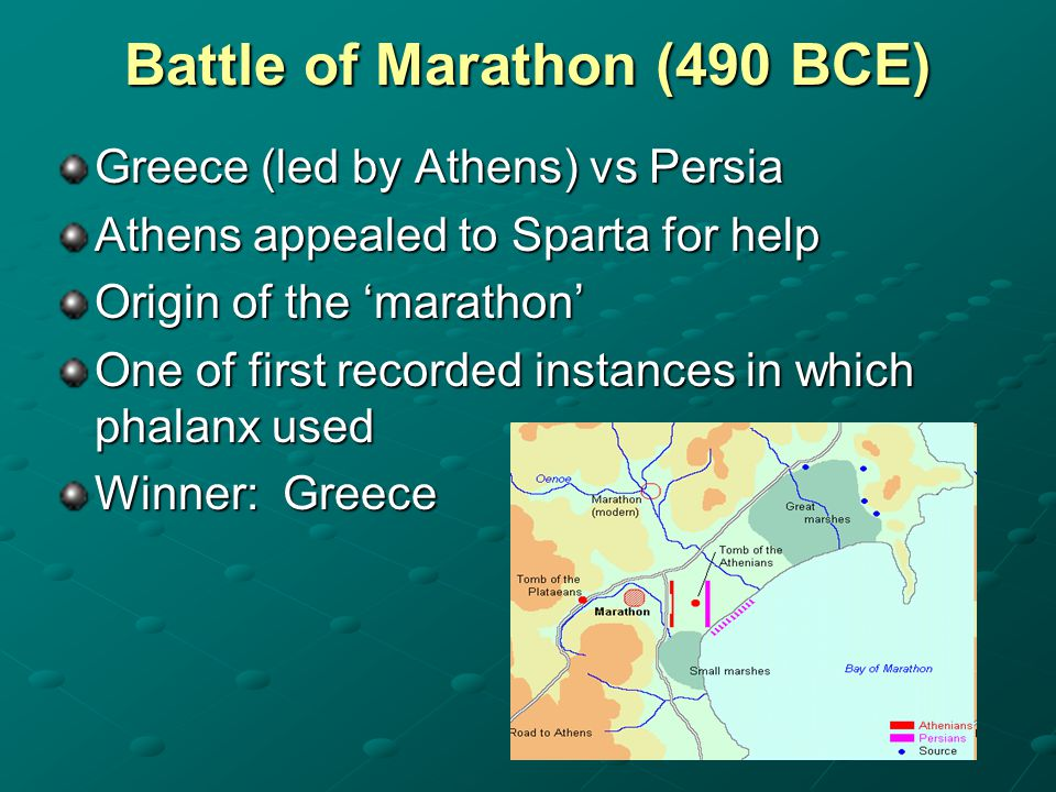 Battle of Marathon (490 BCE) Greece (led by Athens) vs Persia Athens appealed to Sparta for help Origin of the 'marathon' One of first recorded instan