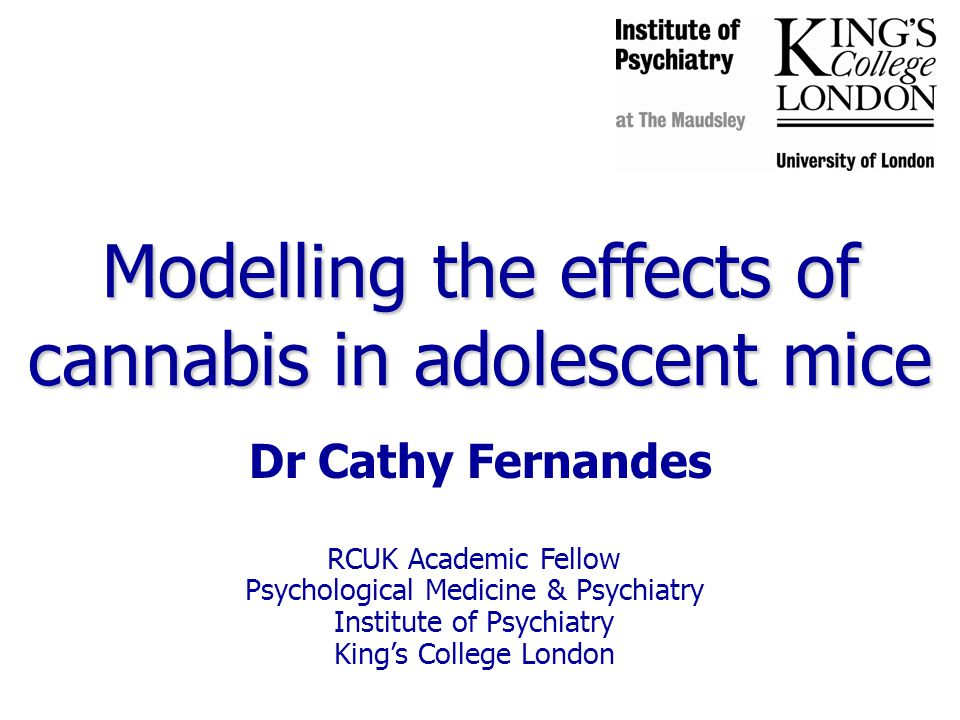 RCUK Academic Fellow Psychological Medicine & Psychiatry Institute of Psychiatry King's College London Modelling the effects of cannabis in adolescent mice Dr Cathy Fernandes