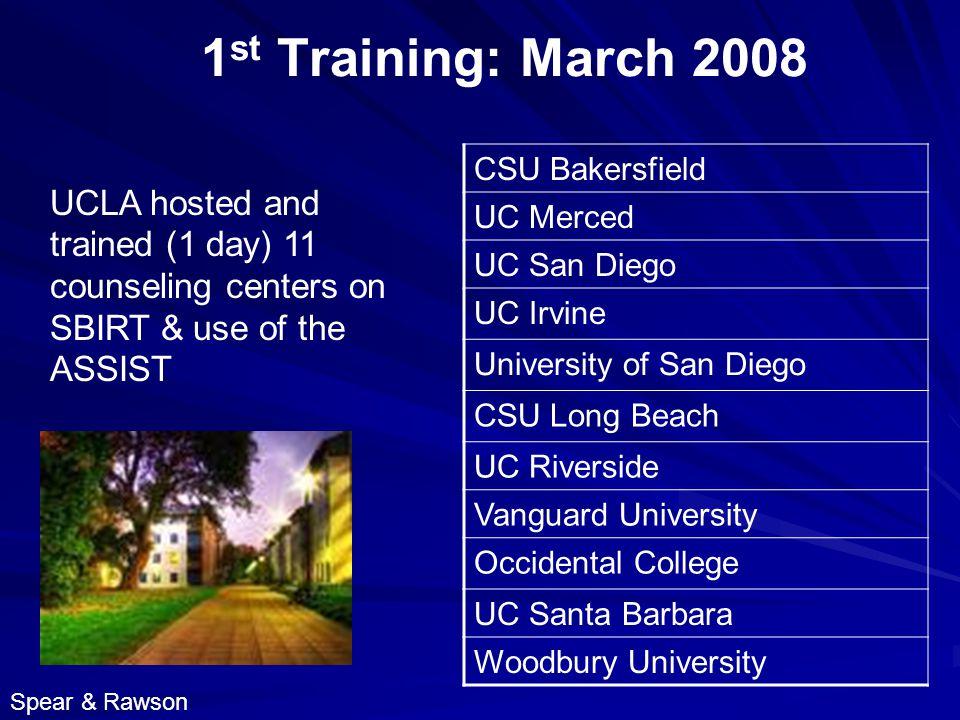 1 st Training: March 2008 CSU Bakersfield UC Merced UC San Diego UC Irvine University of San Diego CSU Long Beach UC Riverside Vanguard University Occidental College UC Santa Barbara Woodbury University UCLA hosted and trained (1 day) 11 counseling centers on SBIRT & use of the ASSIST Spear & Rawson