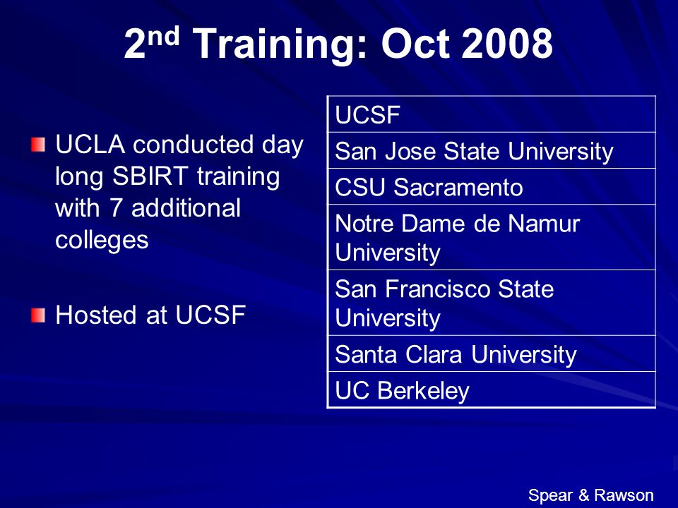 2 nd Training: Oct 2008 UCLA conducted day long SBIRT training with 7 additional colleges Hosted at UCSF UCSF San Jose State University CSU Sacramento
