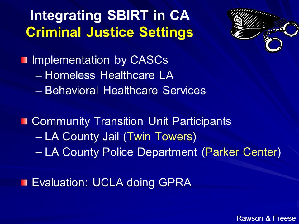Integrating SBIRT in CA Criminal Justice Settings Implementation by CASCs –Homeless Healthcare LA –Behavioral Healthcare Services Community Transition