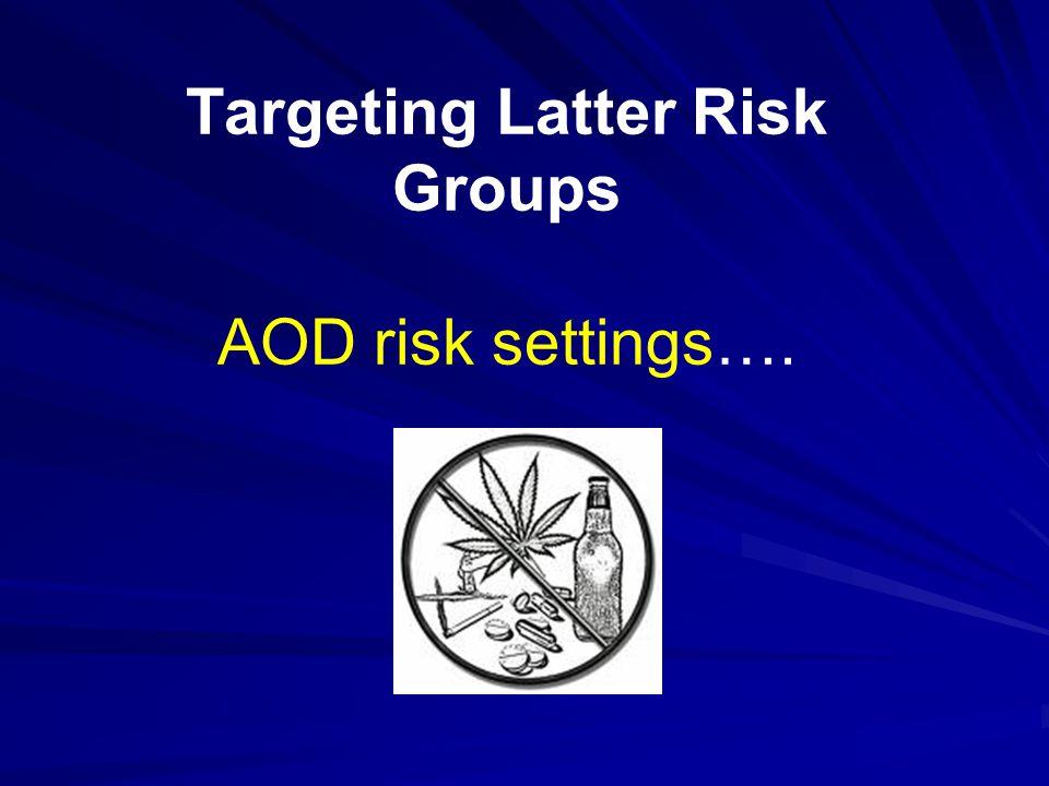 Targeting Latter Risk Groups AOD risk settings….