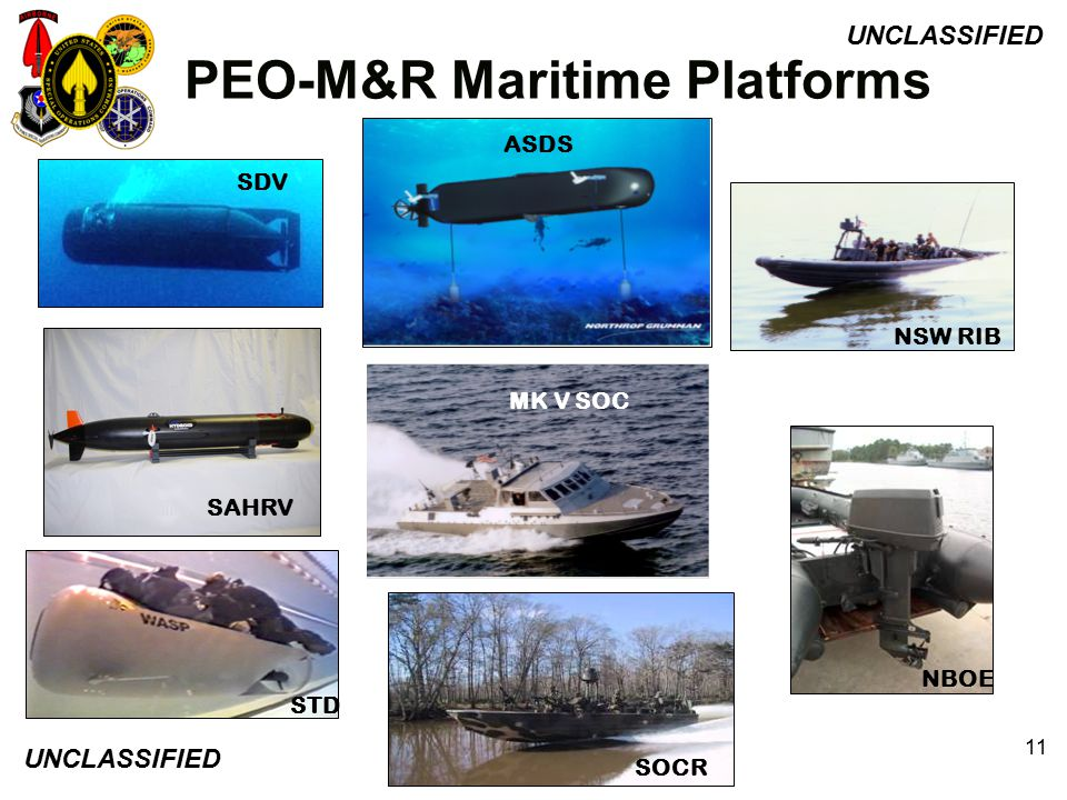 UNCLASSIFIED 11 NSW RIB ASDS MK V SOC SDV STD PEO-M&R Maritime Platforms SOCR NBOE SDV SAHRV