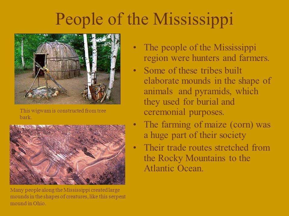People of the Mississippi The people of the Mississippi region were hunters and farmers.