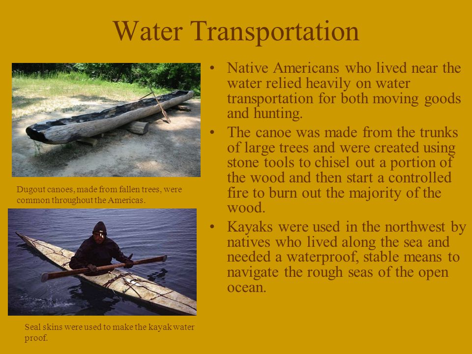 Water Transportation Native Americans who lived near the water relied heavily on water transportation for both moving goods and hunting.