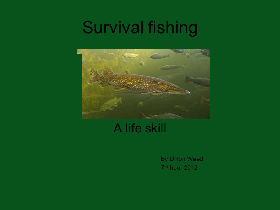 Survival fishing A life skill By Dillon Weed 7 th hour 2012