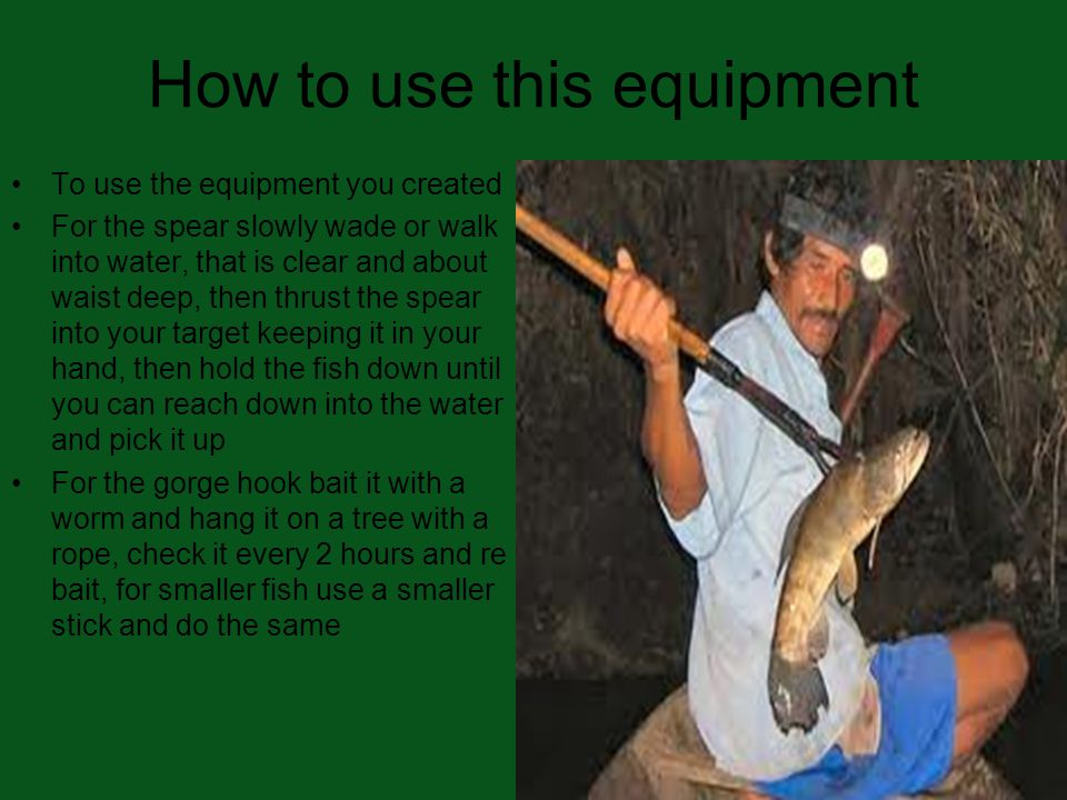 How to use this equipment To use the equipment you created For the spear slowly wade or walk into water, that is clear and about waist deep, then thrust the spear into your target keeping it in your hand, then hold the fish down until you can reach down into the water and pick it up For the gorge hook bait it with a worm and hang it on a tree with a rope, check it every 2 hours and re bait, for smaller fish use a smaller stick and do the same