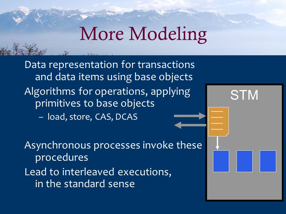More Modeling Data representation for transactions and data items using base objects Algorithms for operations, applying primitives to base objects –load, store, CAS, DCAS Asynchronous processes invoke these procedures Lead to interleaved executions, in the standard sense STM -----