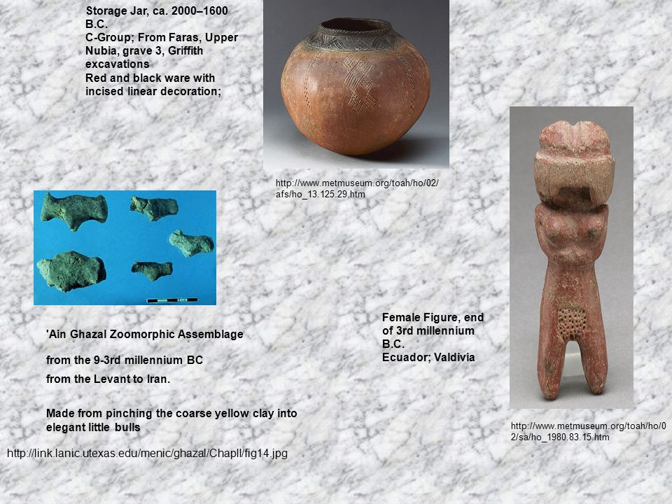http://link.lanic.utexas.edu/menic/ghazal/ChapII/fig14.jpg from the 9-3rd millennium BC from the Levant to Iran. Made from pinching the coarse yellow