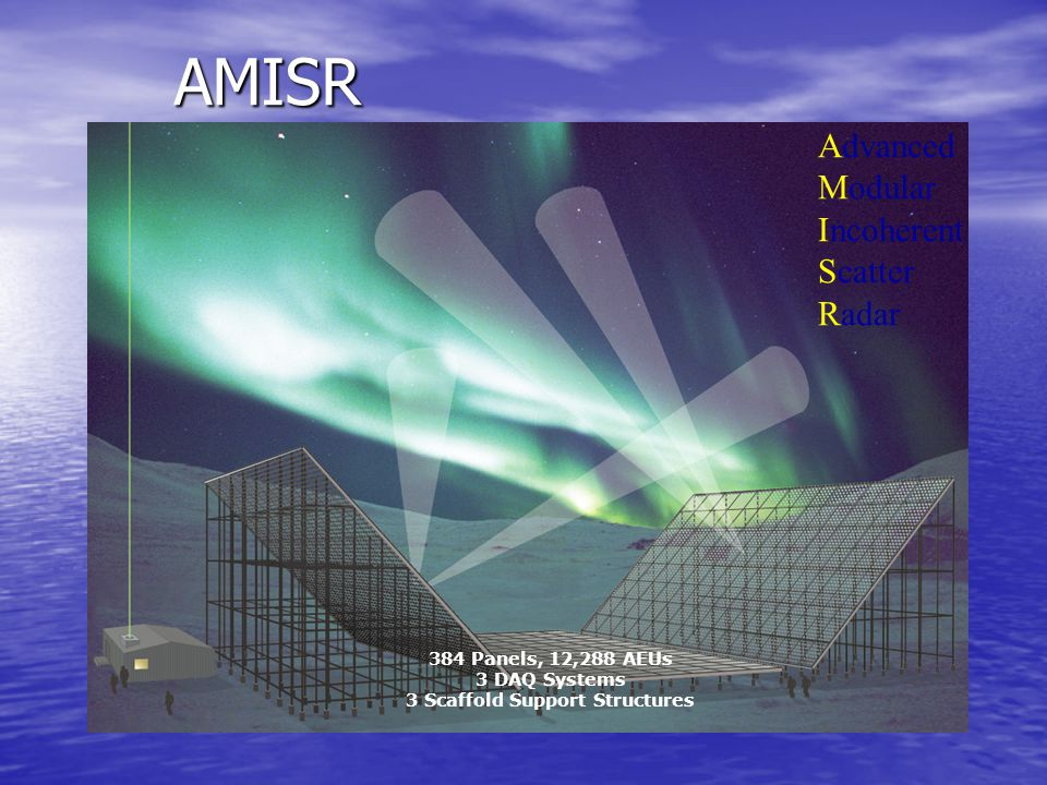 AMISR 384 Panels, 12,288 AEUs 3 DAQ Systems 3 Scaffold Support Structures Advanced Modular Incoherent Scatter Radar