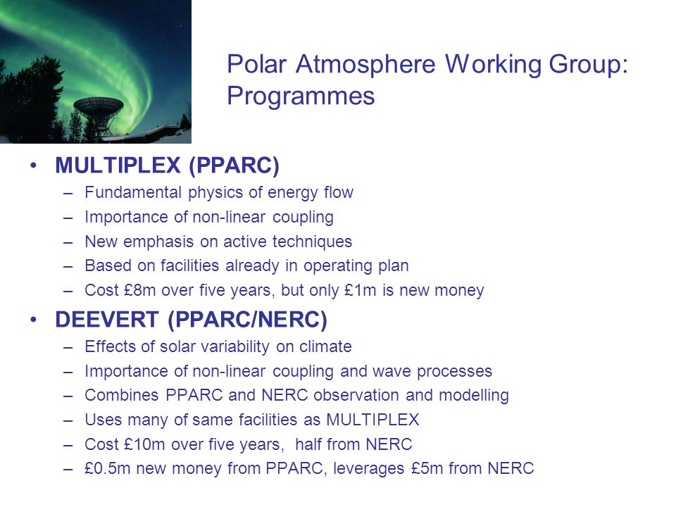 Polar Atmosphere Working Group: Programmes MULTIPLEX (PPARC) –Fundamental physics of energy flow –Importance of non-linear coupling –New emphasis on active techniques –Based on facilities already in operating plan –Cost £8m over five years, but only £1m is new money DEEVERT (PPARC/NERC) –Effects of solar variability on climate –Importance of non-linear coupling and wave processes –Combines PPARC and NERC observation and modelling –Uses many of same facilities as MULTIPLEX –Cost £10m over five years, half from NERC –£0.5m new money from PPARC, leverages £5m from NERC