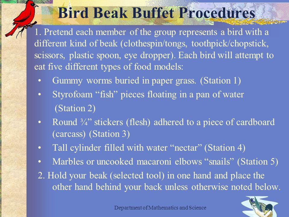 Bird Beak Buffet Procedures 1.