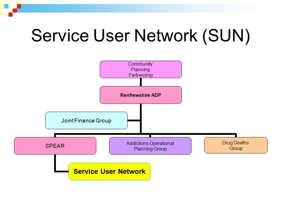 Service User Network (SUN) Community Planning Partnership Renfrewshire ADP SPEAR Service User Network Addictions Operational Planning Group Drug Death