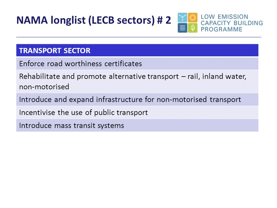 NAMA longlist (LECB sectors) # 2 TRANSPORT SECTOR Enforce road worthiness certificates Rehabilitate and promote alternative transport – rail, inland water, non-motorised Introduce and expand infrastructure for non-motorised transport Incentivise the use of public transport Introduce mass transit systems
