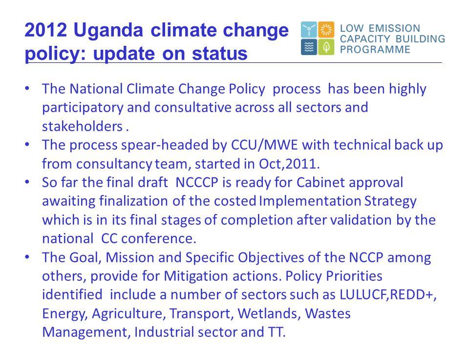 Policy context Key CC initiatives NAMA longlist Presentation overview