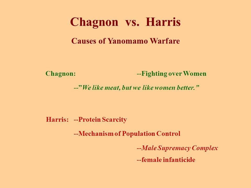 "Chagnon vs. Harris Causes of Yanomamo Warfare Chagnon:--Fighting over Women --""We like meat, but we like women better."" Harris:--Protein Scarcity --Me"