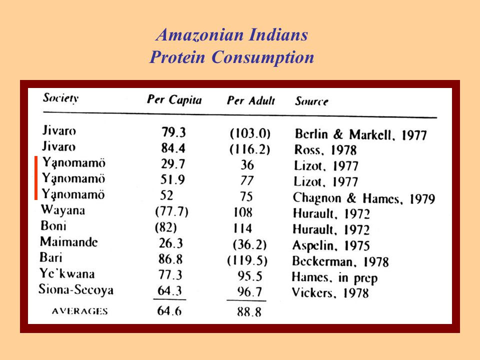 Amazonian Indians Protein Consumption