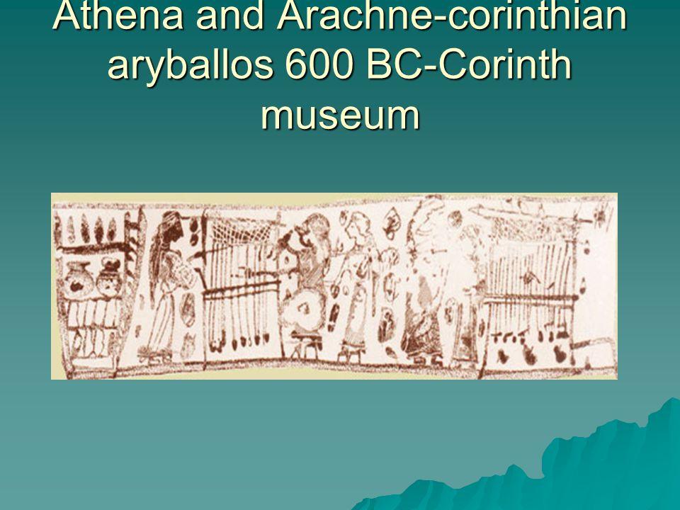 Athena and Arachne-corinthian aryballos 600 BC-Corinth museum