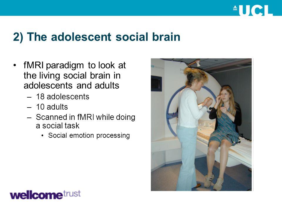 2) The adolescent social brain fMRI paradigm to look at the living social brain in adolescents and adults –18 adolescents –10 adults –Scanned in fMRI