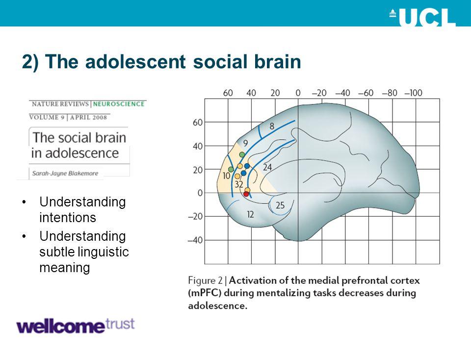 2) The adolescent social brain Understanding intentions Understanding subtle linguistic meaning