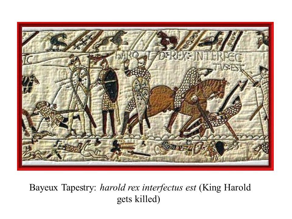 Bayeux Tapestry: harold rex interfectus est (King Harold gets killed)
