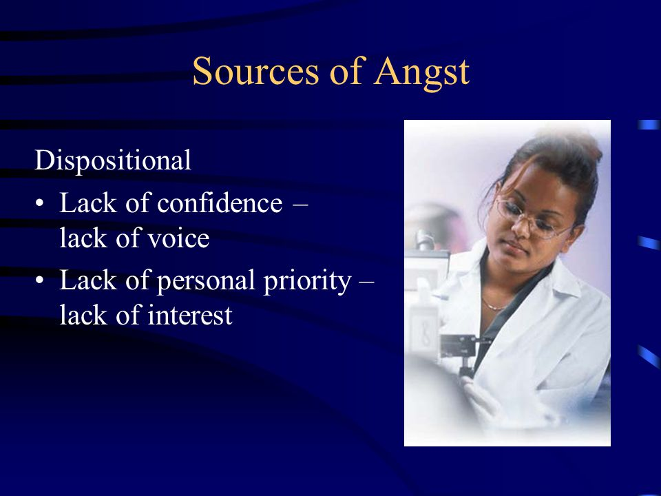 Sources of Angst Dispositional Lack of confidence – lack of voice Lack of personal priority – lack of interest
