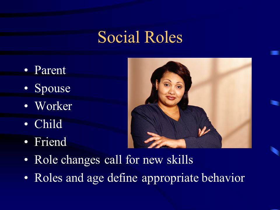 Social Roles Parent Spouse Worker Child Friend Role changes call for new skills Roles and age define appropriate behavior