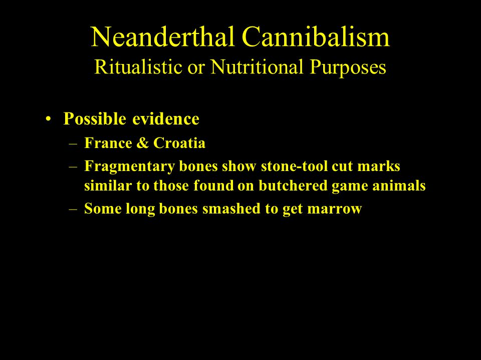 Neanderthal Cannibalism Ritualistic or Nutritional Purposes Possible evidence –France & Croatia –Fragmentary bones show stone-tool cut marks similar t