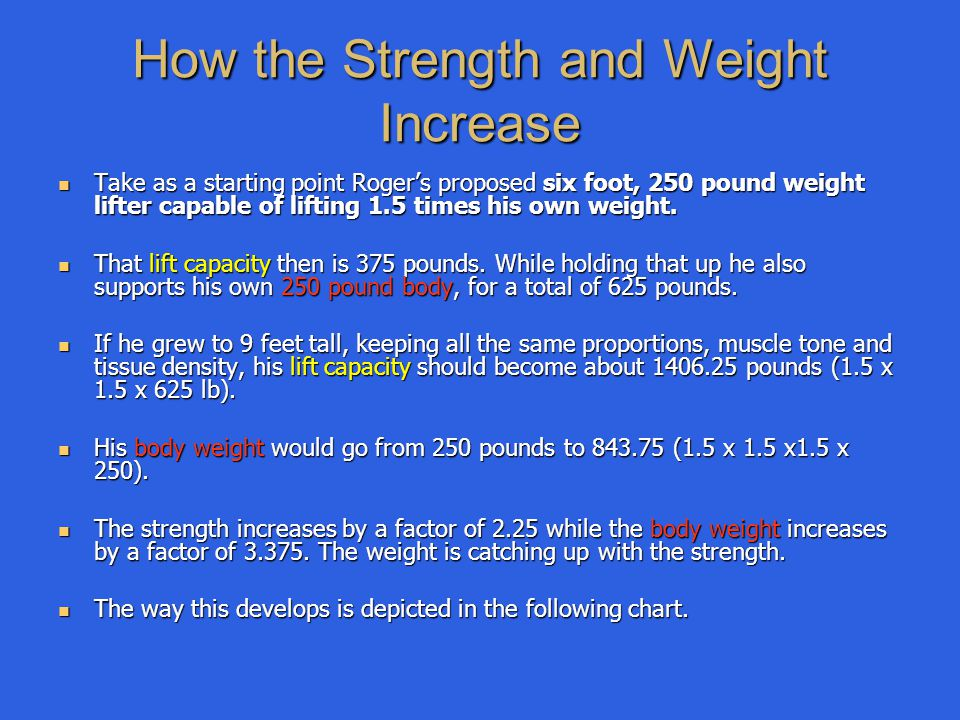 How the Strength and Weight Increase Take as a starting point Roger's proposed six foot, 250 pound weight lifter capable of lifting 1.5 times his own