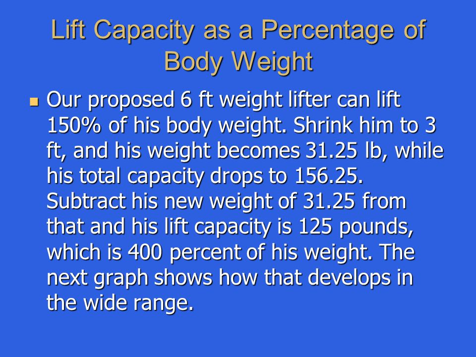 Lift Capacity as a Percentage of Body Weight Our proposed 6 ft weight lifter can lift 150% of his body weight. Shrink him to 3 ft, and his weight beco