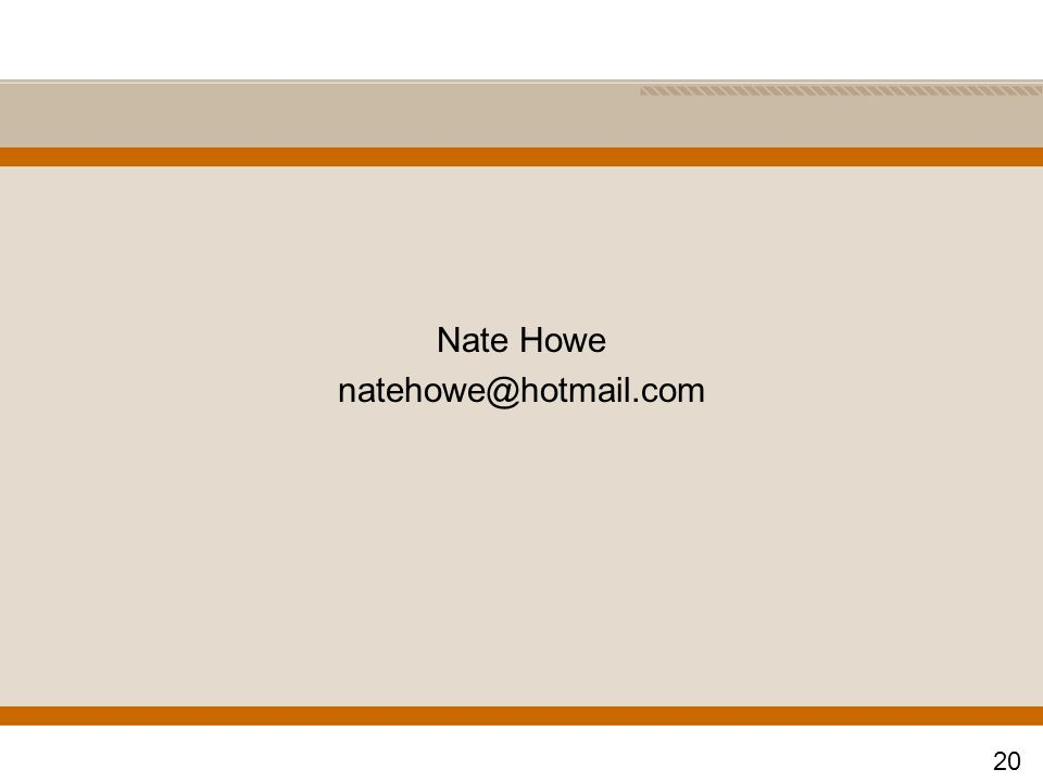 Nate Howe natehowe@hotmail.com 20