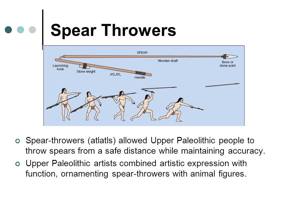 Spear Throwers Spear-throwers (atlatls) allowed Upper Paleolithic people to throw spears from a safe distance while maintaining accuracy.