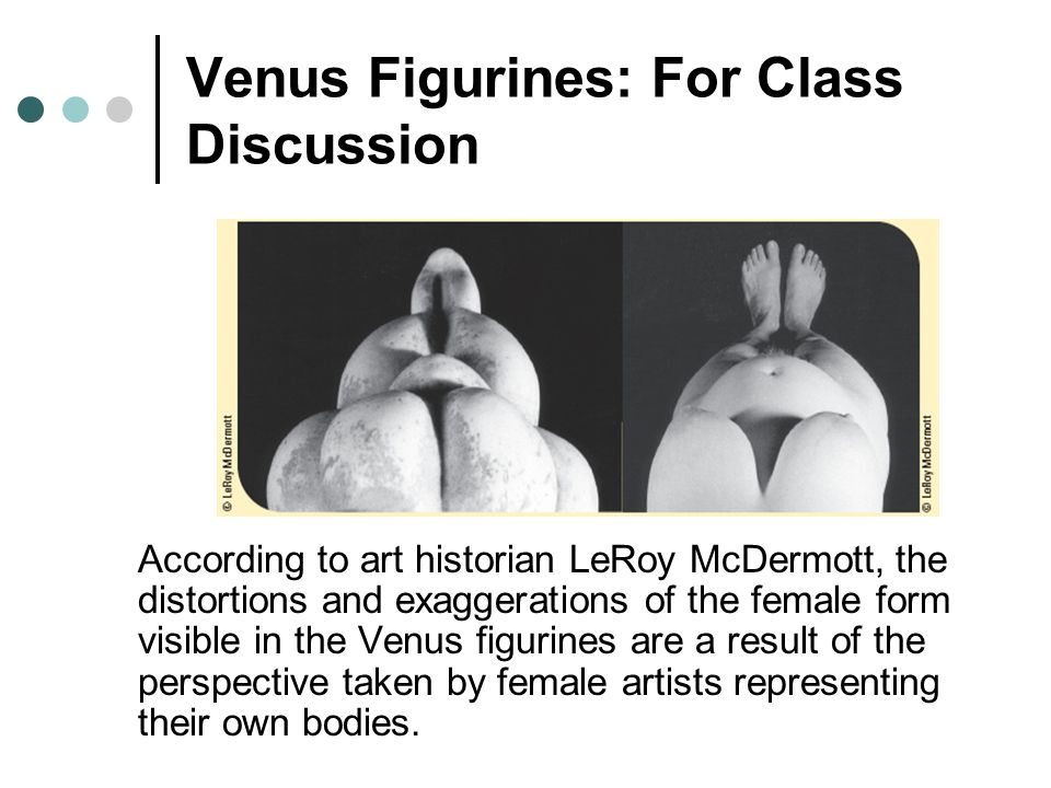 Venus Figurines: For Class Discussion According to art historian LeRoy McDermott, the distortions and exaggerations of the female form visible in the Venus figurines are a result of the perspective taken by female artists representing their own bodies.
