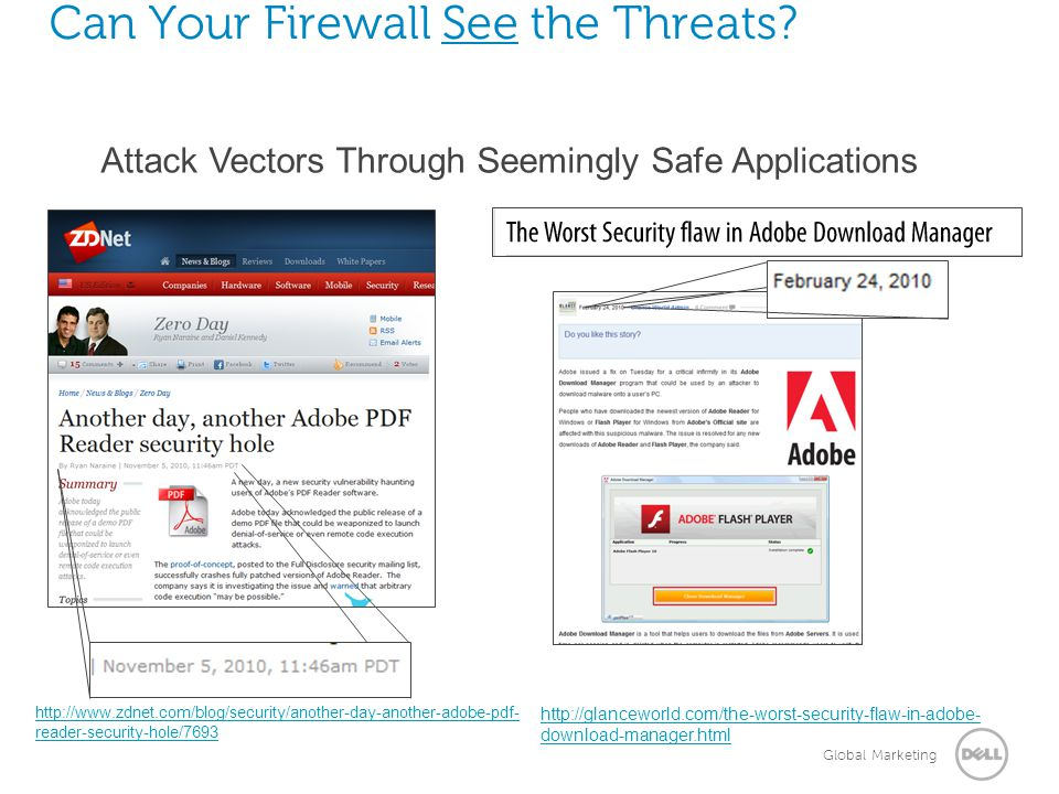 Global Marketing Can Your Firewall See the Threats? http://www.zdnet.com/blog/security/another-day-another-adobe-pdf- reader-security-hole/7693 http:/