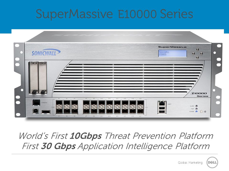 Global Marketing World's First 10Gbps Threat Prevention Platform First 30 Gbps Application Intelligence Platform SuperMassive E10000 Series