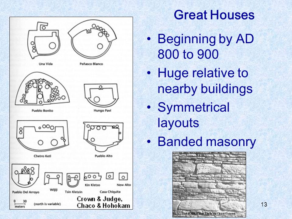13 Great Houses Beginning by AD 800 to 900 Huge relative to nearby buildings Symmetrical layouts Banded masonry