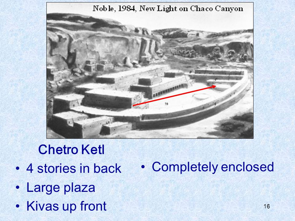 16 Chetro Ketl 4 stories in back Large plaza Kivas up front Completely enclosed