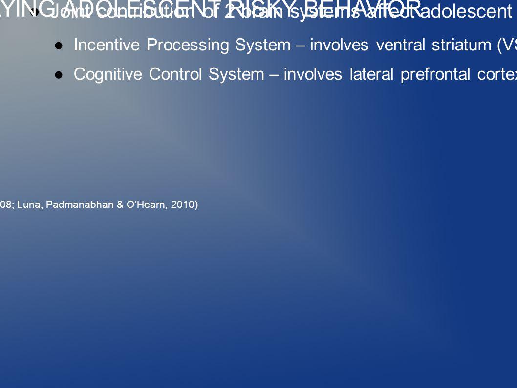 ●Joint contribution of 2 brain systems affect adolescent decision-making: ●Incentive Processing System – involves ventral striatum (VS) and orbitofrontal cortex (OFC) ●Cognitive Control System – involves lateral prefrontal cortex (LPFC) (Casey, Getz & Galvan, 2008; Luna, Padmanabhan & O'Hearn, 2010) BRAIN DEVELOPMENT UNDERLYING ADOLESCENT RISKY BEHAVIOR
