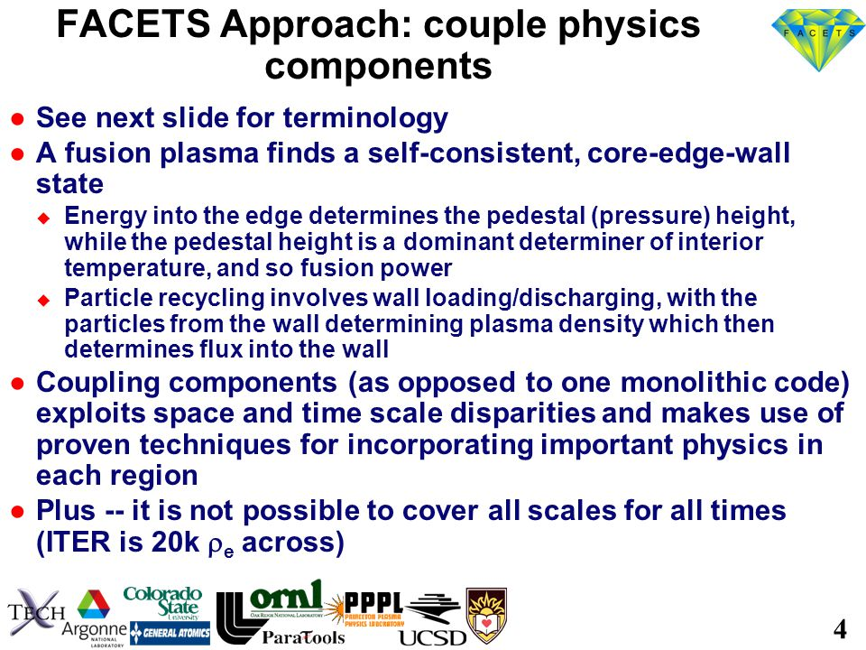 5 We do not get hung up over terminology For us ●Component = unit of software that can model part of the problem ●Framework: The on-HPC software that couples (primarily) physics components.