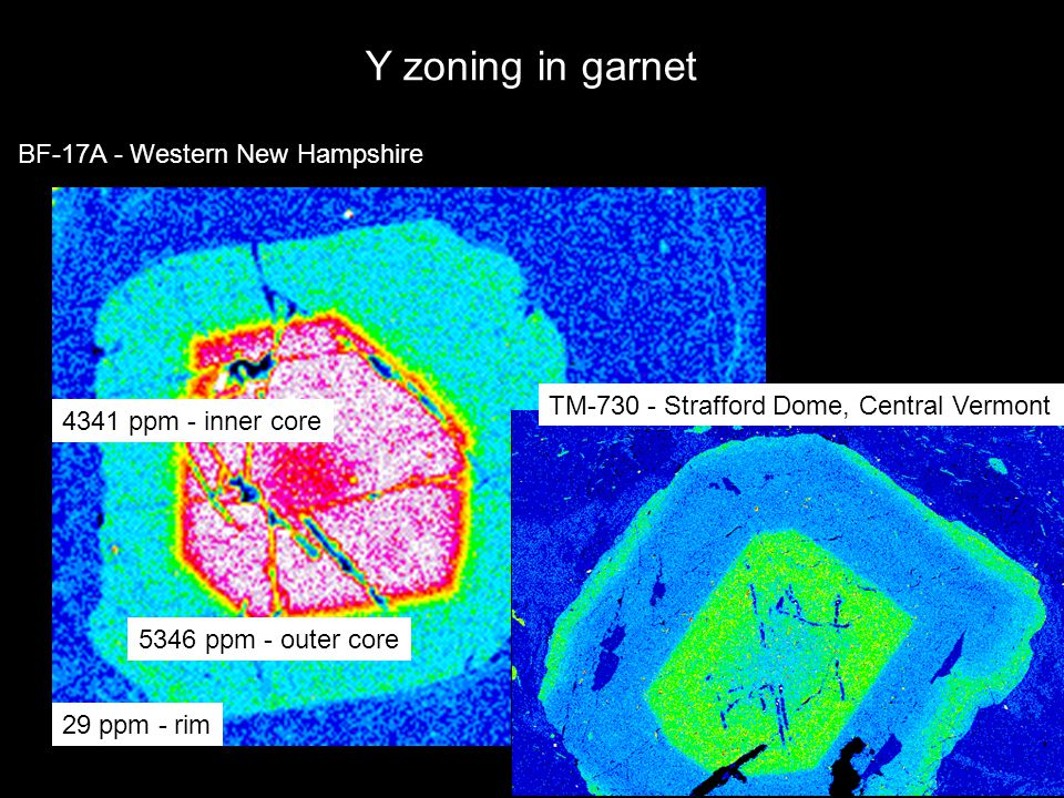 BF-17A - Western New Hampshire Y zoning in garnet 4341 ppm - inner core 5346 ppm - outer core 29 ppm - rim TM-730 - Strafford Dome, Central Vermont