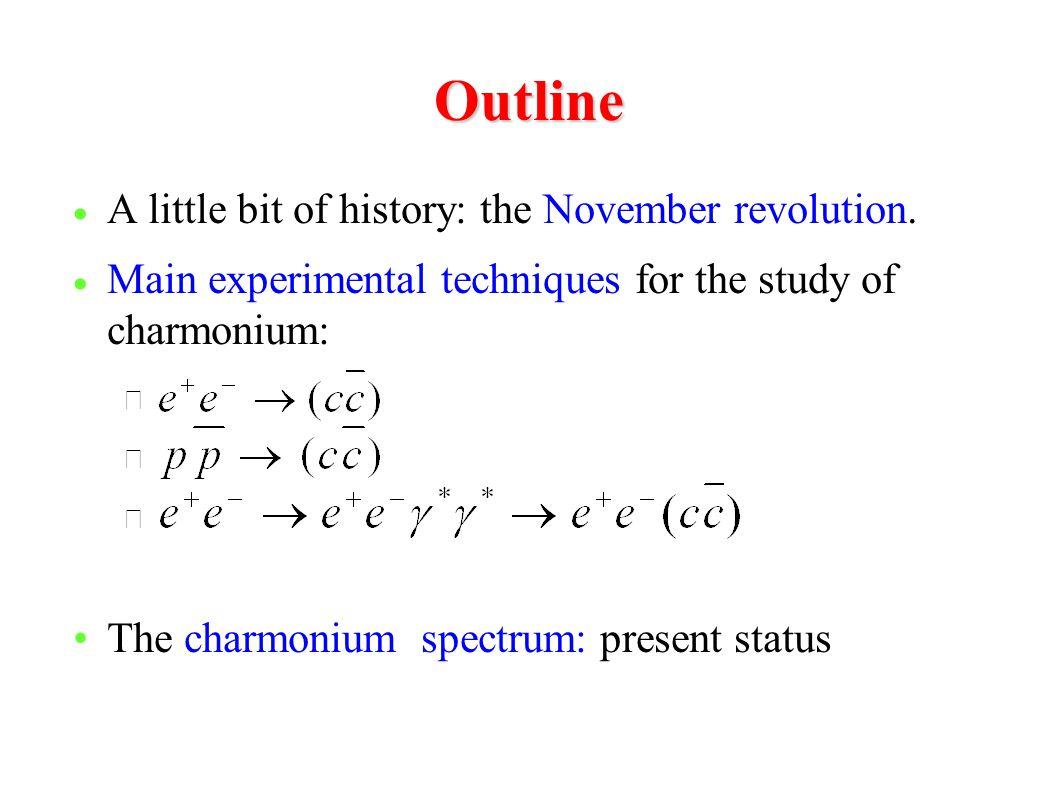 Outline  A little bit of history: the November revolution.  Main experimental techniques for the study of charmonium: – The charmonium spectrum: pre