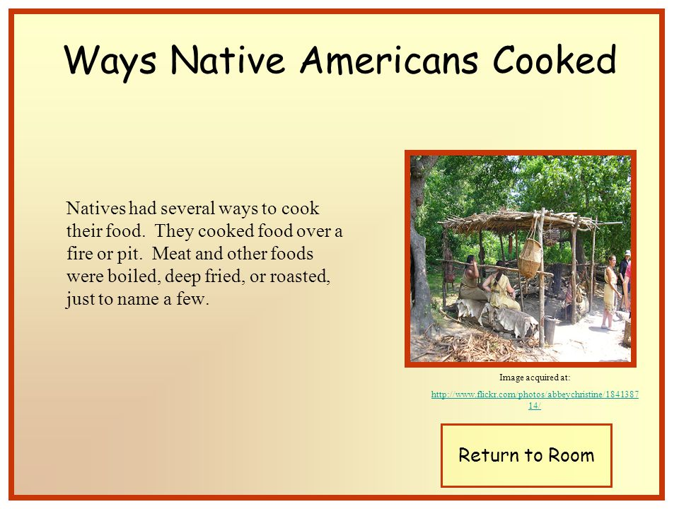 Natives had several ways to cook their food. They cooked food over a fire or pit.