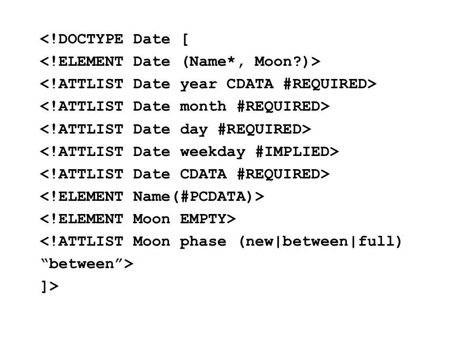 <!DOCTYPE Date [ <!ATTLIST Moon phase (new|between|full) between > ]>