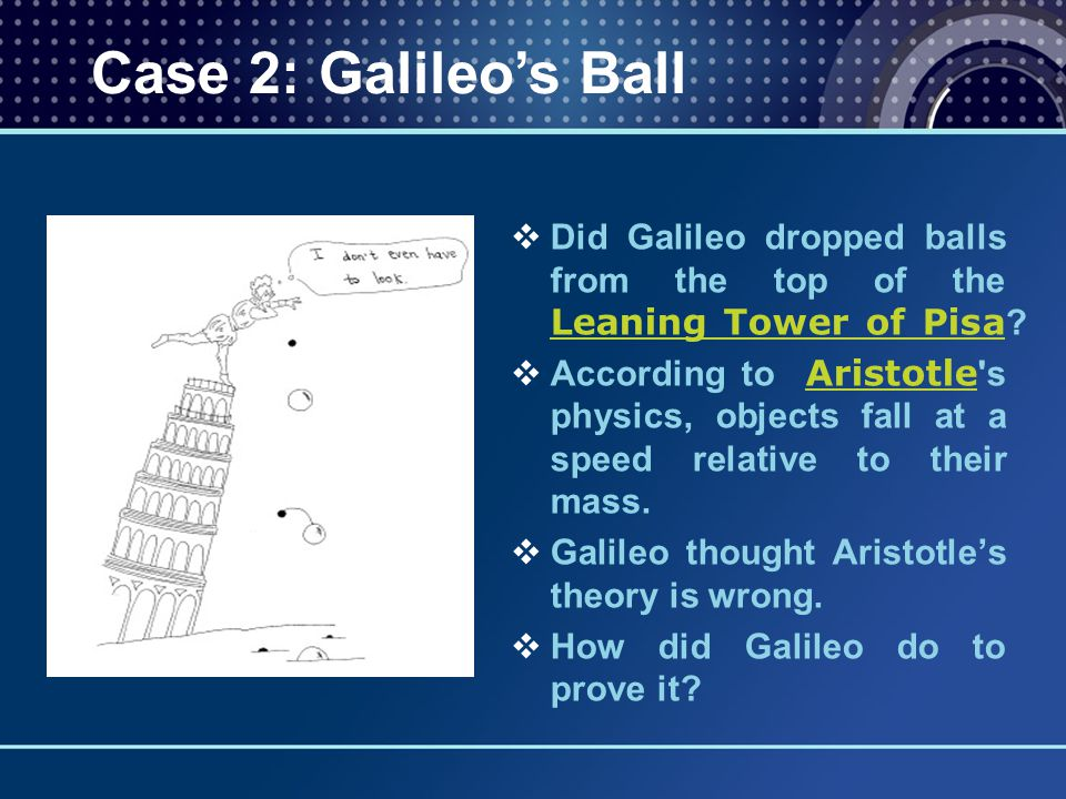   Did Galileo dropped balls from the top of the Leaning Tower of Pisa ? Leaning Tower of Pisa   According to Aristotle 's physics, objects fall at
