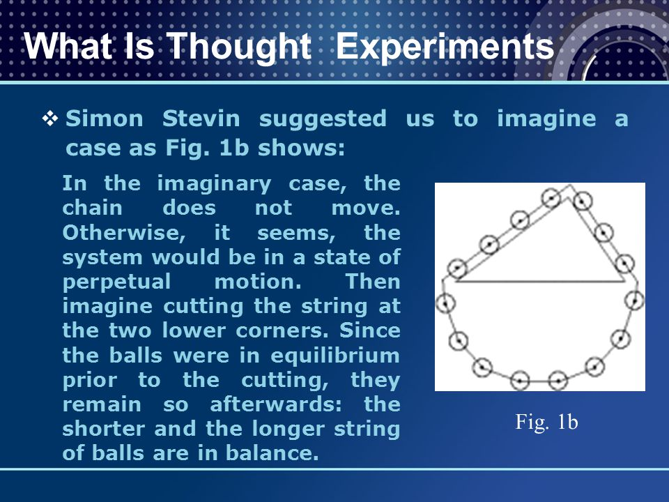  Simon Stevin suggested us to imagine a case as Fig. 1b shows: What Is Thought Experiments Fig. 1b In the imaginary case, the chain does not move. Ot